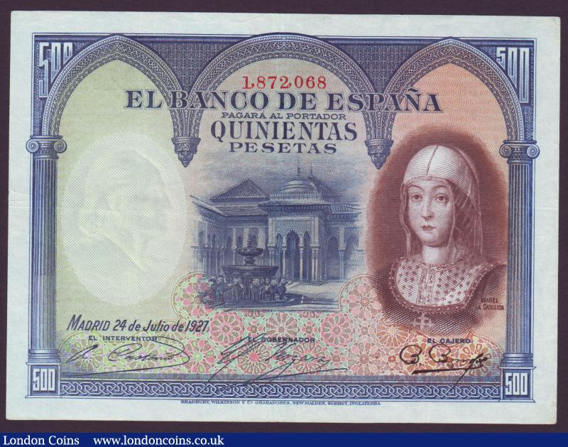 Spain 500 pesetas dated 1927 series No.1872068, Pick73c, Republic issue 1936, pressed GVF : World Banknotes : Auction 137 : Lot 350