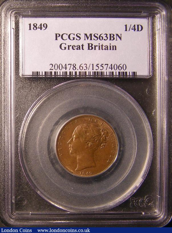 Farthing 1849 Peck 1570 PCGS MS63 BN we grade UNC with lustre traces, some contact marks and a small carbon spot on the exergue line, Very Rare in high grade : Certified Coins : Auction 137 : Lot 386