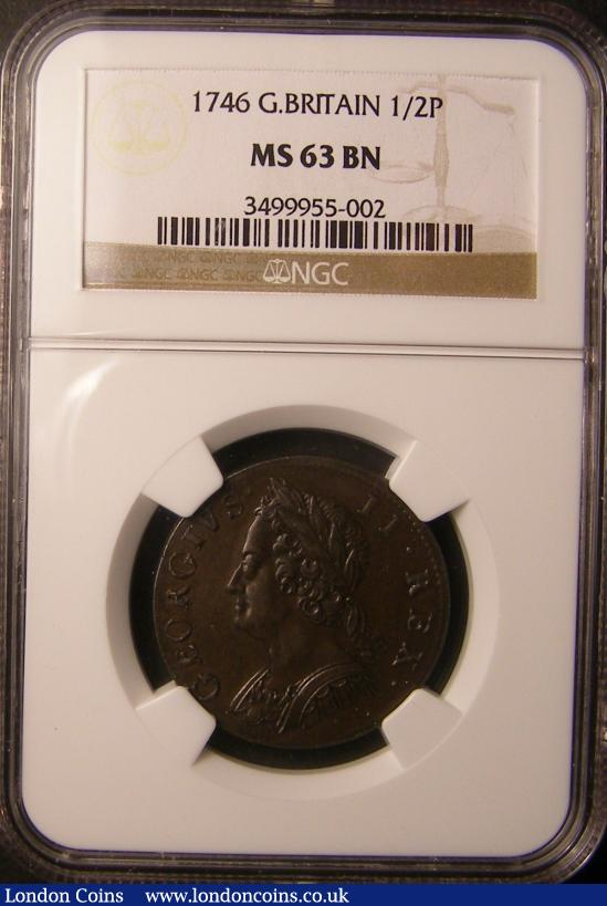 Halfpenny 1746 NGC MS63 BN : Certified Coins : Auction 137 : Lot 393