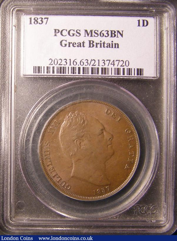 Penny 1837 PCGS MS63 BN chocolate Unc and rare thus : Certified Coins : Auction 137 : Lot 397