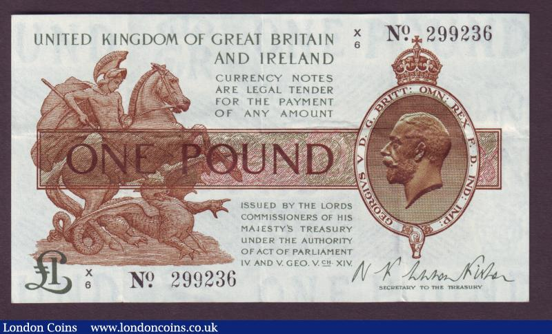 One pound Warren Fisher T24 issued 1919 last series X/6 299236, GVF to EF : English Banknotes : Auction 138 : Lot 130
