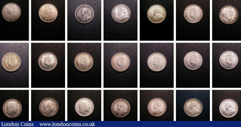 India - British Half Rupees (21) 1894 Bombay, 1899 Bombay