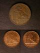 London Coins : A139 : Lot 705 : Belgium (3) 5 Centimes 1853 KM#5.1 Good Fine, 2 Centimes 1856 (2) KM#4.2 EF and lustrous one wit...