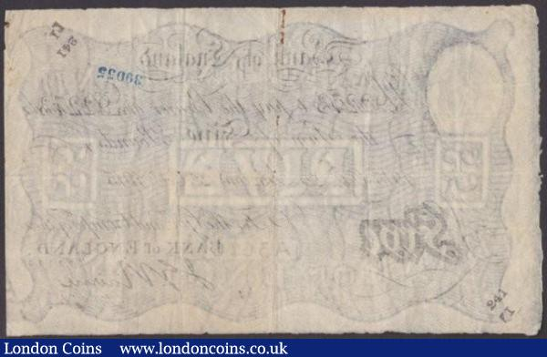 Five pounds Nairne white B208b dated 22nd October 1915 series 74/D 92273, pinholes, bank stamps, etc., Fine+ : English Banknotes : Auction 140 : Lot 131