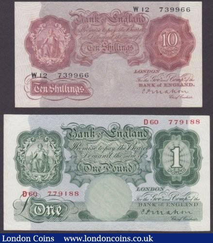 Ten shillings Mahon B210 issued 1928 series W12 739966 VF and £1 B212 Mahon series D60 779188 pressed VF-GVF : English Banknotes : Auction 140 : Lot 140