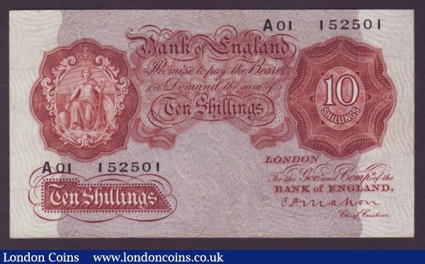 Ten Shillings Mahon. B210. A01 152501. First series. Rare. EF to UNC. : English Banknotes : Auction 140 : Lot 141