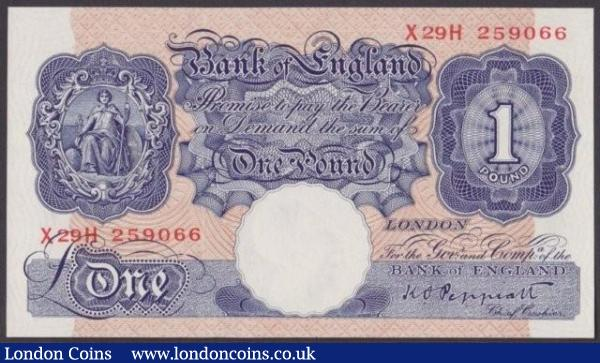 One pound Peppiatt blue B249 issued 1940 last series X29H 259066 UNC : English Banknotes : Auction 140 : Lot 164