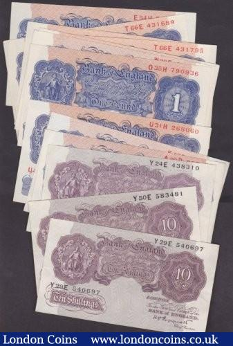 Ten shillings Peppiatt mauve B251 (3) issued 1940 series Y--E all VF or better & wartime blue £1 B249 (10) includes A39D, W28E and a consecutive pair T66E, all EF to mostly UNC : English Banknotes : Auction 140 : Lot 173