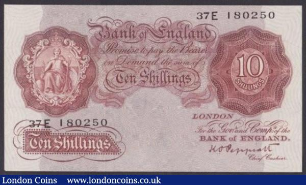 Ten shillings Peppiatt B262 issued 1948 threaded variety, last series 37E 180250, pressed EF, looks better : English Banknotes : Auction 140 : Lot 191
