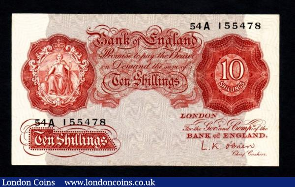 Ten Shillings O'Brien. B272. 54A 155478. Replacement. EF. : English Banknotes : Auction 140 : Lot 203