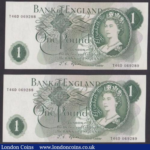 ERROR £1 Fforde B305 (2) issued 1967, both notes have matching different serial numbers of T46D 069288 & T46D 069289, UNC : English Banknotes : Auction 140 : Lot 328