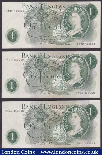 ERROR £1 Fforde B305 (3) issued 1967, 2 notes have matching different serial numbers of T42D 422568 & T42D 422569, the 3rd note has a normal serial number of T42D 422568 without any error, almost EF and scarce as a trio : English Banknotes : Auction 140 : Lot 329