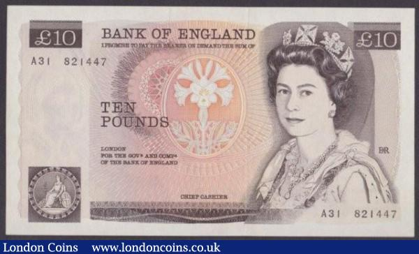 ERROR £10 Page B330 issued 1975 first series A31 821447 with a missing signature, scarce for this type, UNC : English Banknotes : Auction 140 : Lot 337