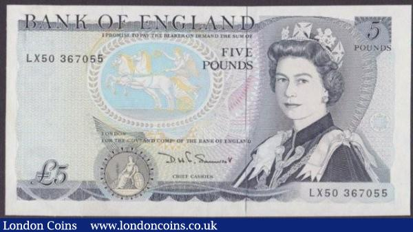 ERROR £5 Somerset B343 issued 1980 series LX50 367055, silver security thread is totally exposed on the front, pressed EF : English Banknotes : Auction 140 : Lot 342