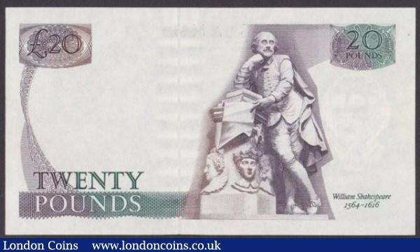 ERROR £20 Gill B355 issued 1988 series 10R 103342, missing central part of reverse print including all of the balcony scene, tiny dot top left, pressed about UNC : English Banknotes : Auction 140 : Lot 348