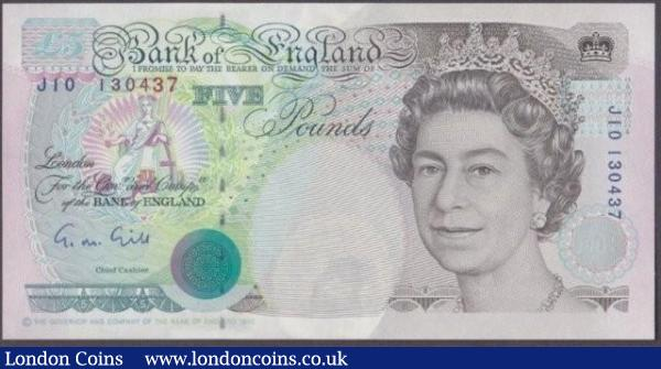 ERROR £5 Gill B357 issued 1990 series J10 130437, has a misplaced watermark, Queen is missing her chin which is visible at the top from previous note, UNC : English Banknotes : Auction 140 : Lot 355