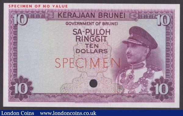 Brunei 10 ringgit issued 1967, purple colour trial No.82, SPECIMEN ovpt. & one punch-hole, Pick3ct, UNC : World Banknotes : Auction 140 : Lot 423