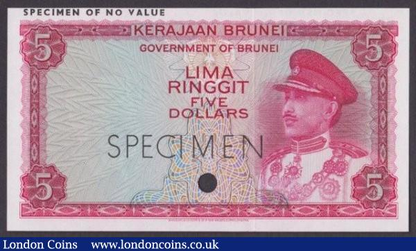 Brunei 5 ringgit issued 1967, red colour trial No.82, SPECIMEN ovpt. & one punch-hole, Pick2ct, UNC : World Banknotes : Auction 140 : Lot 427