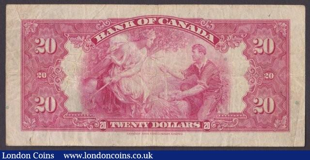 Canada, Bank of Canada $20 dated 1935 series A105106 plate B with small seal, Osborne-Towers, Princess Elizabeth at left, Pick46b (BC-9b), Fine : World Banknotes : Auction 140 : Lot 448