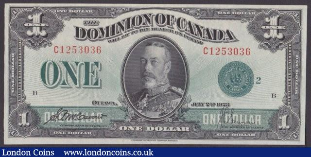Canada, The Dominion of Canada $1 dated 1923 series C1253036, green seal at right, McCavour-Saunders, Pick33j (DC-25j), KGV at centre, lightly pressed, GVF-EF : World Banknotes : Auction 140 : Lot 462