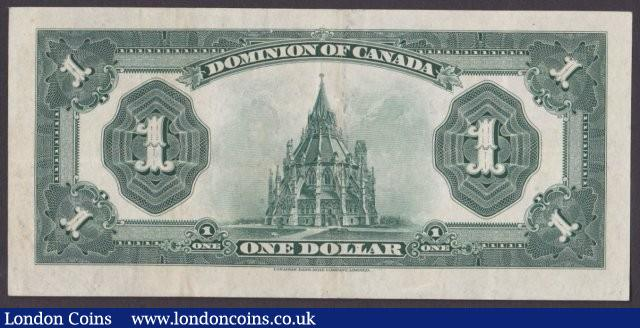 Canada, The Dominion of Canada $1 dated 1923 series J-630742, blue seal at right, McCavour-Saunders, Pick33c (DC-25c), KGV at centre, pressed GVF, looks better : World Banknotes : Auction 140 : Lot 464