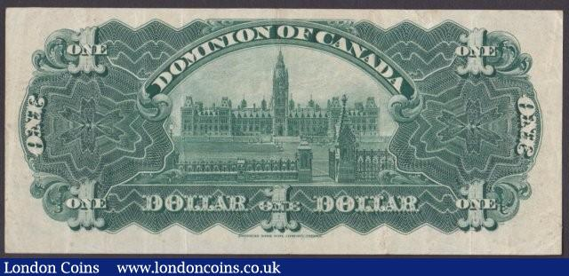 Canada, The Dominion of Canada $1 dated January 3rd 1911 series G771388, signed Boville, Pick27a (DC-18b), about VF : World Banknotes : Auction 140 : Lot 467