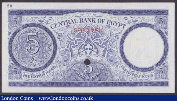 Egypt £5 issued 1961, colour trial in green & blue No.20, SPECIMEN ovpt. & 1 punch-hole, Pick39ct, corner flicks, about UNC to UNC : World Banknotes : Auction 140 : Lot 503