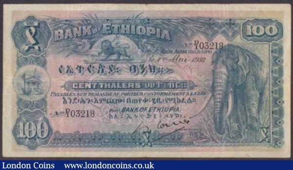 Ethiopia 100 thalers dated 1st May 1932 series D/1 03218, elephant at right, Pick10, pinholes Fine+ : World Banknotes : Auction 140 : Lot 509