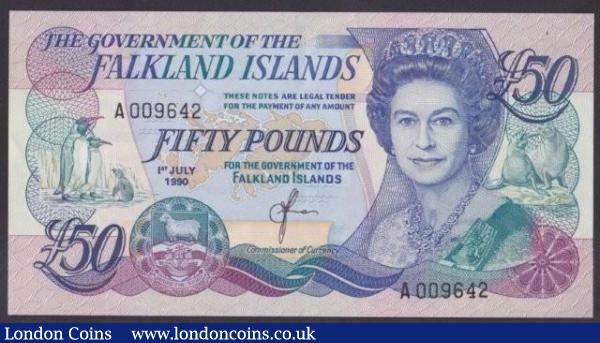 Falkland Islands £50 dated 1st July 1990, QE2 at right, series A009642, Pick16a, UNC : World Banknotes : Auction 140 : Lot 510