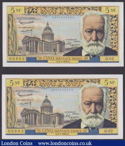 France 5 NF dated 1962 (2) a consecutively numbered pair series Q.82 05662 & Q.82 05663, Victor Hugo at right, Pick141, GEF : World Banknotes : Auction 140 : Lot 513
