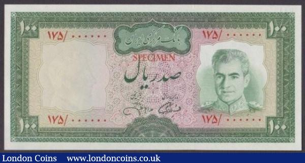 Iran 100 rials issued 1971-73, Colour trial in green No.041, series 175/ 000000, signature 13, SPECIMEN ovpt. in red at centre, Pick91ct, UNC : World Banknotes : Auction 140 : Lot 545
