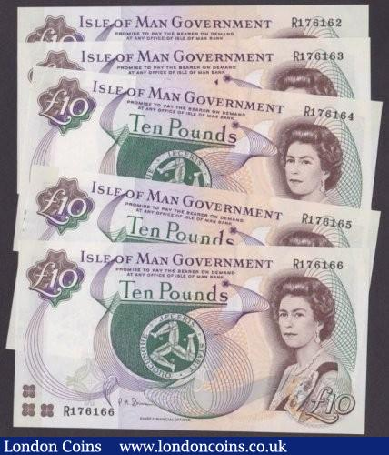 Isle of Man £10 (5) a consecutive run issued 2002 series R176162 to R176166, signed Shimmin, Pick44b, UNC : World Banknotes : Auction 140 : Lot 558