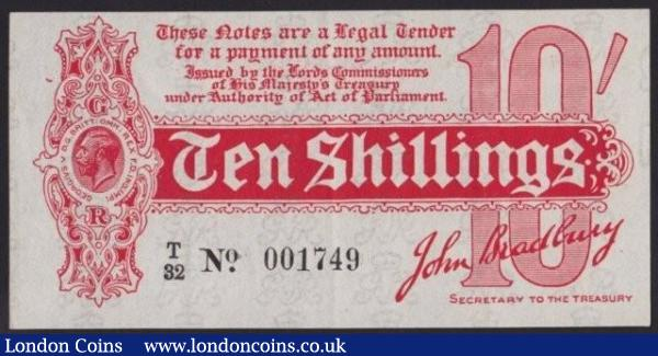 Ten shillings Bradbury T8 issued 1914 series T/32 001749, EF to GEF : English Banknotes : Auction 140 : Lot 68