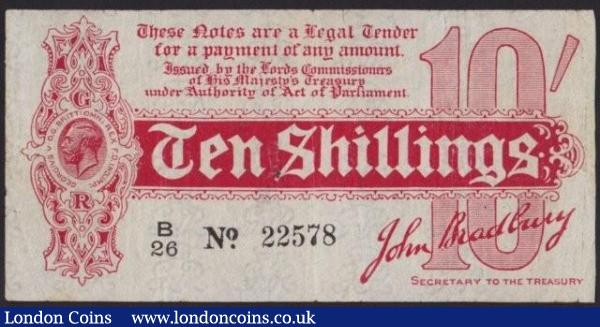 Ten shillings Bradbury T10 issued 1914 series B/26 22578, small taped repair at centre & pinholes, Fine to good Fine and a scarce variety : English Banknotes : Auction 140 : Lot 70
