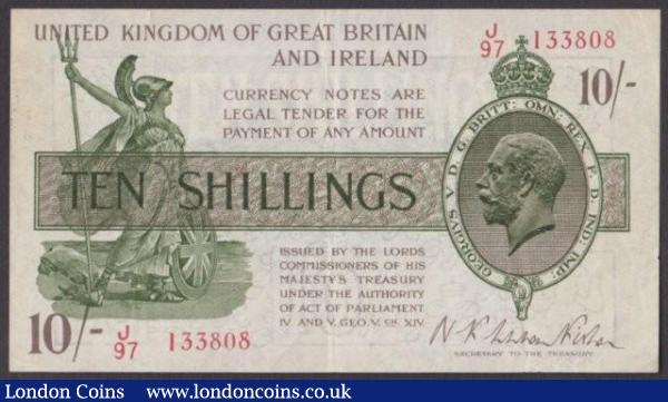 Treasury 10 shillings Warren Fisher T30 issued 1922 first series J/97 133808, VF : English Banknotes : Auction 140 : Lot 99