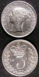 London Coins : A141 : Lot 2216 : Threepences (2) 1865 ESC 2072 EF with a scratch on the obverse, 1881 ESC 2088 A/UNC