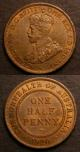 London Coins : A141 : Lot 640 : Australia (2) Penny 1918I KM#23 GVF all diamonds and pearls fully visible, Halfpenny 1920 KM#22 ...