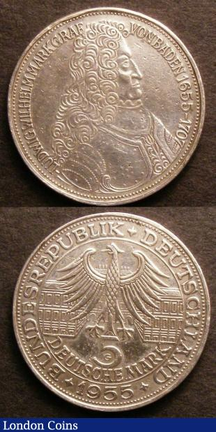 Germany Federal Republic Commemorative Coinage (2) 5 Marks 1955G 300th Anniversary of the Birth of Ludwig von Baden KM#115 VF, Rare, 5 Marks 1964J 150th Anniversary of the Death of Johann Gottlieb Fichte KM#118.1 VF : World Coins : Auction 141 : Lot 705
