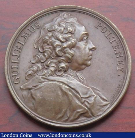 William Pulteney 1744, by J.A. Dassier, bronze, 55mm., obv. bust right, rev. COMES DE BATH MDCCXLIV within wreath. (Eimer 585). GVF. : Medals : Auction 142 : Lot 1232