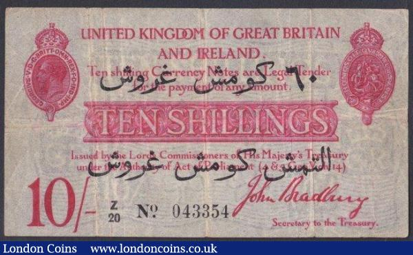 Ten shillings Bradbury T15 issued 1915, Dardanelle issue with Arabic overprint for 60 Piastres series Z/20 043354, 2 tiny pinholes, Fine to good Fine : English Banknotes : Auction 142 : Lot 15