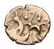 London Coins : A142 : Lot 1761 : Stater Au. Corieltauvi. 'South Ferriby type'. C,45-10 BC. Obv; Abstract head of Apol...