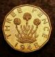 London Coins : A142 : Lot 1943 : Brass Threepence 1948 VIP Proof Peck 2391A nFDC with a small spot on the thrift plant, comes wit...