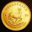 London Coins : A143 : Lot 1109 : South Africa Krugerrand 1975 KM#73 UNC with a couple of tiny rim nicks