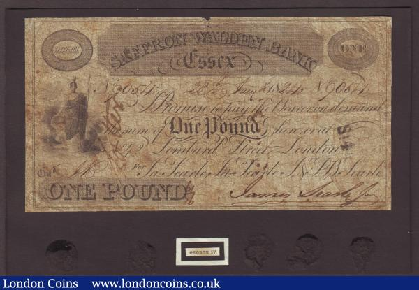 Saffron & Walden Bank Essex £1 dated 1824 series No.9054 for Ja. Searle, Ja. Searle Jnr & S.B. Searle. (Outing 1848b), mounted at top on black card, VG : English Banknotes : Auction 143 : Lot 112