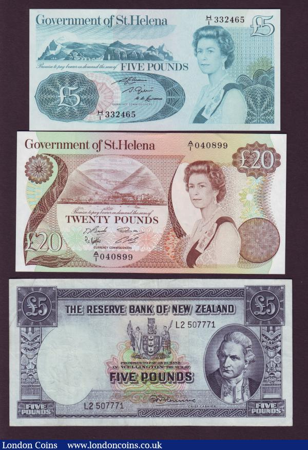 Falkland Islands £1 1974 Pick8b aU/UNC & £5 1983 Pick12 UNC, Solomon Islands $10 Pick7a UNC, St Helena £5 Pick7b and £20 Pick10a these UNC, also New Zealand £5 Captain Cook portrait Pick160d about VF : World Banknotes : Auction 143 : Lot 152