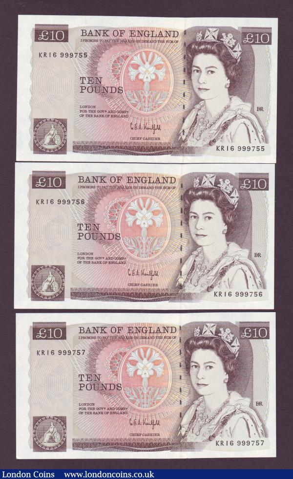 Ten Pounds Kentfield B360 issued 1991 (3) a consecutive numbered trio series KR16 999755 to KR16 999757, about UNC to UNC : English Banknotes : Auction 143 : Lot 72
