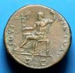 London Coins : A144 : Lot 1067 : Sestertius Ae. Domitian. C, 81-96 AD. Rev; IOVI VICTORI S C; Jupiter seated left holding Victory and...