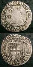 London Coins : A144 : Lot 1291 : Sixpences James I (2) First Coinage Second Bust 1604 S.2648 mintmark Lis VG/About Fine, Third Coinag...