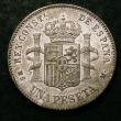 London Coins : A144 : Lot 710 : Spain Peseta 1885 (85) MS-M KM#686 GEF and lustrous