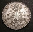 London Coins : A145 : Lot 1563 : Half Dollar 1791 ESC 611 4 Reales Oval Counterstamp George III on Charles IV of Spain Madrid Mint Co...